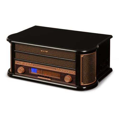 auna belle epoque 1908 chaine hifi stereo retro avec platine vinyle enregistrement par usb mp3 lecteur cd tuner radio et k7 design bois