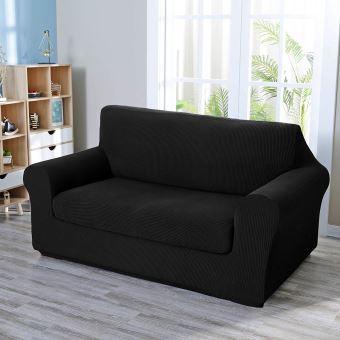 deconovo 1 piece housse de canape extensible avec accoudoirs jacquard revetement de canape avec 2 place housse canape confortable noir 152x83x89cm