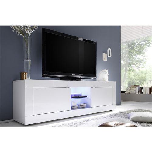 meuble tv design laque blanc 180cm latte