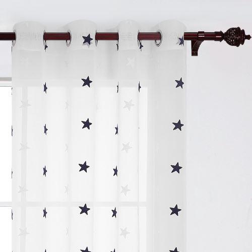deconovo lot de 2 rideau voilage fenetre cuisine brode etoile rideaux a oeillets avec motif rideau voilage balcon 140x280cm bleu marine
