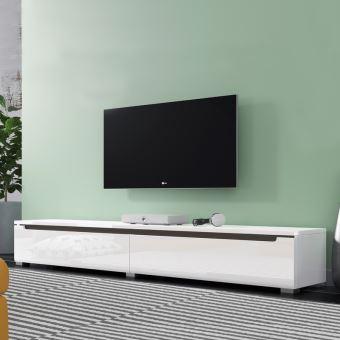 meuble tv banc tv swift 180 cm blanc brillant sans led a suspendre ou a poser style moderne