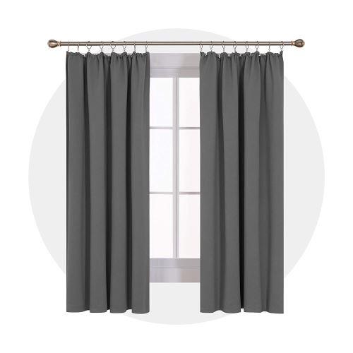 deconovo lot de 2 rideaux occultants galon fronceur restaurant cuisine salle a manger balcon rideau salon design moderne decoration gris clair