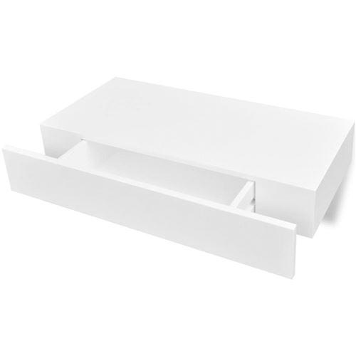 etagere murale en mdf blanc avec 1 tiroir pour dvd livres