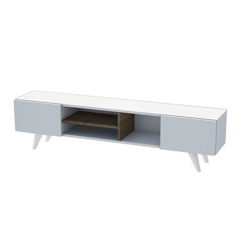 meuble tv scandinave dore 160 x 40 cm blanc