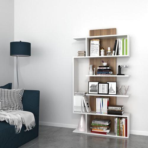 etagere bibliotheque design bois joke l 90 x h 172 cm blanc