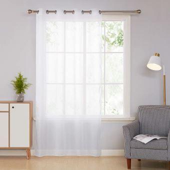 deconovo rideau voilage blanc a oeillets voilage enfants voile fenetre 140x180cm