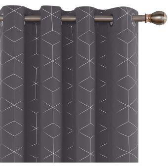 deconovo lot de 2 rideaux occultants garcon motif imprime cubes argente isolation thermique pour rideau occultant gris fonce avec oeillets 140x183cm