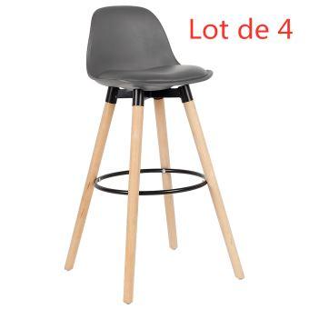lot de 4 tabouret bar chaise gris salle a manger hauteur 71cm env couverture en pp pieds en bois hetre massif