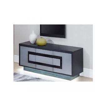 subleem meuble tv 160 cm 3 portes meteor gris argent et noir