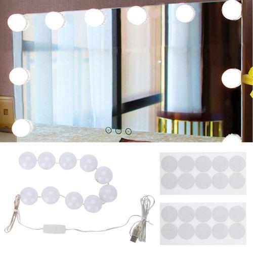 20 Sur Kit De Lumiere De Miroir Lampe Pour Miroir Cosmetique Lampe De Coiffeuse Table4 5 Metres 10 Ampoules Led Lampe De Coiffeuse Luminaires Exterieur Achat Prix Fnac