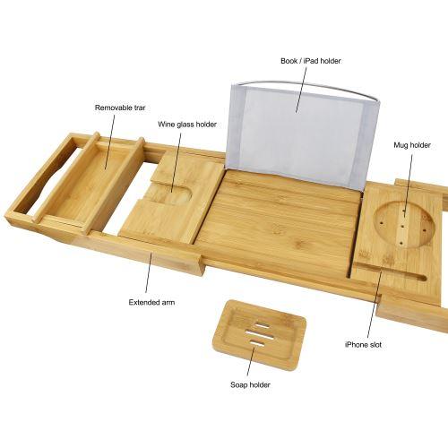 etagere a baignoire en bois plateau de baignoire avec 2 supports amovibles et porte savon tissu gris materiau bambou