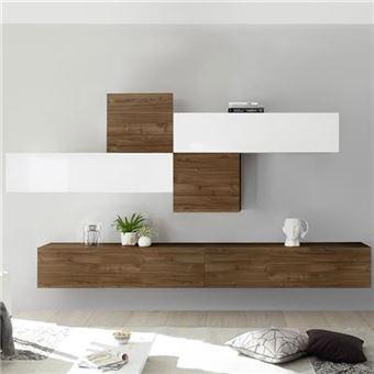 meuble tv suspendu blanc laque et couleur noyer papiano l 275 x p 30 x h 200 cm