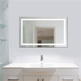 100x60 Cm Mural Miroir Led Lampe De Miroir Eclairage Pour Salle De Bain Achat Prix Fnac