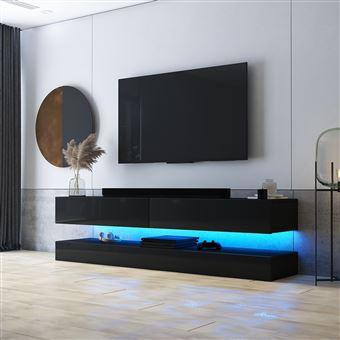 meuble tv suspendu meuble de salon mural hylia 140 cm noir mat noir brillant avec led style moderne