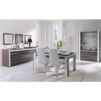 meuble de salon et salle a manger lina 9 elements noir et blanc brillant