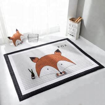 honey tapis de sol chambre bebe enfant dimensions 150x100 style scandinave coussin assorti inclus matelas de jeu eveil marron blanc