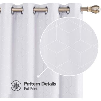 deconovo lot de 2 rideaux occultants blanc pale gris isolant thermique rideaux a oeillets motif de lossange imprimes argents pour enfant rideaux