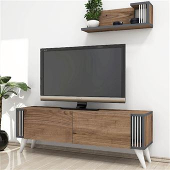 homemania meuble tv nicol moderne avec portes etageres noyer en bois 120 x 31 x 42 cm