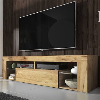 meuble tv banc tv bianko 140 cm chene lancaster style moderne tablettes en verre