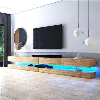 meuble tv suspendu meuble de salon mural hylia double 2x140 cm chene wotan avec led style moderne