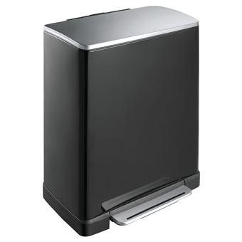 eko e cube poubelle a pedale metal noir 34 5 x 50 x 65 cm 50 litres