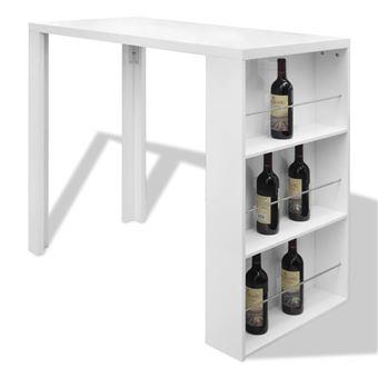 table de bar blanche vernissee avec 3 etageres de rangement