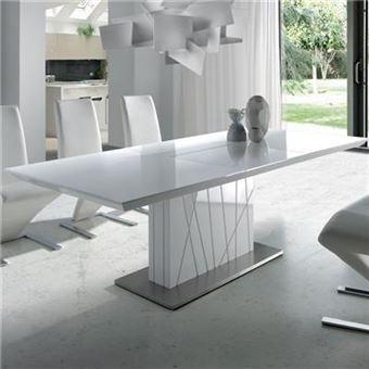 table a manger extensible blanc laque design elodie l 220 x p 90 x h 76 cm