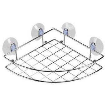 support etagere de rangement pour angle de douche a ventouse et en inox