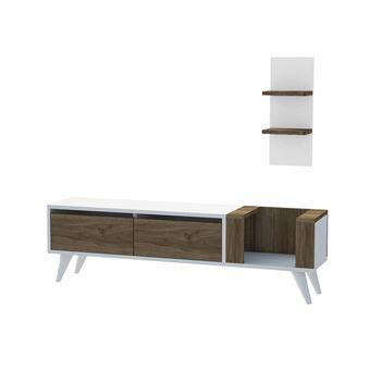 meuble tv avec etagere pers 130 x 38 cm blanc et noix