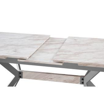 nolah table a manger extensible 4 a 6 personnes effet marbre style contemporain blanc gris salle a manger cuisine