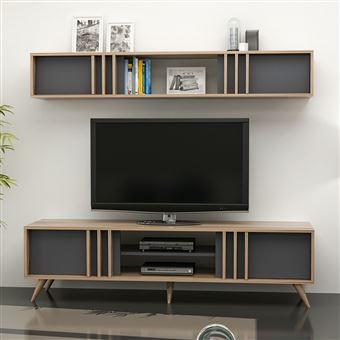 meuble tv design avec etagere bren l 180 x h 48 cm gris anthracite