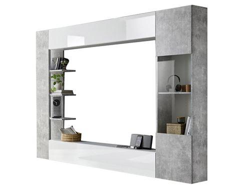 https www fnac com mp43543205 mur tv sirius avec rangements coloris blanc laque et beton w 4