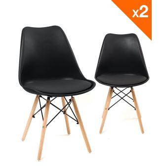 chaise scandinave nasi avec coussin lot de 2 noir achat prix fnac