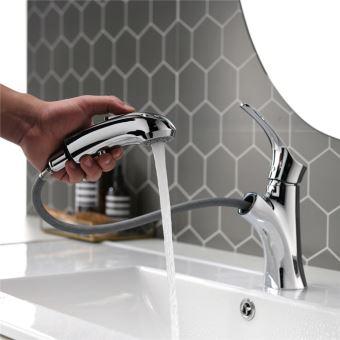 robinet salle de bain mitigeur de lavabo chrome avec douchette extractible bouton stop robinetterie lavabo en laiton
