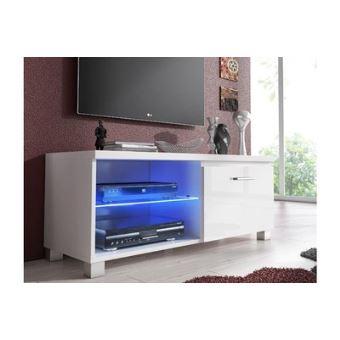 home innovation meuble de television led meuble de salon blanc mate et blanc laque dimensions 100 x 40 x 42 cm de profondeur