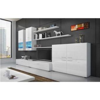home innovation meuble de television meuble de salon avec illumination led blanc laque et blanc mate dimensions 300 x 189 x 42 cm de