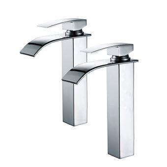 2x robinets salle de bain haut bec cascade mitigeur de lavabo robinetterie pour vasque chrome design moderne