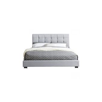 lit adulte avec tete de lit capitonnee en tissu gris clair sommier a latte 160x200 collection william