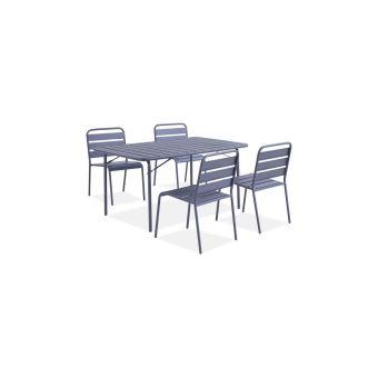 ensemble repas de jardin table de jardin 150 cm en metal et 4 chaises gris anthracite