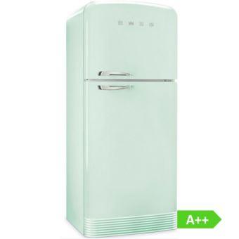refrigerateur congelateur en haut smeg fab50rpg vert d eau charnieres a droite