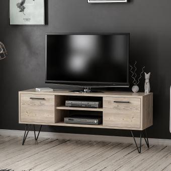 homemania meuble tv almira moderne avec portes etageres pour salon noir en bois 120 x 35 x 50 cm