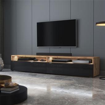 meuble tv rednaw 180 cm chene wotan noir brillant avec led style scandinave