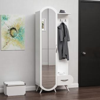 homemania vestiaire meuble d entree kerry armoire avec etageres a chaussures miroir porte tiroir blanc en bois 80 x 35 x 180 cm