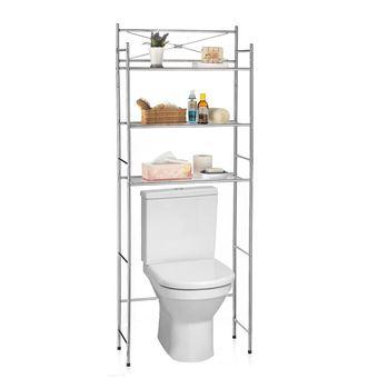 etagere de salle de bain marsa rangement pour wc lave linge en metal chrome
