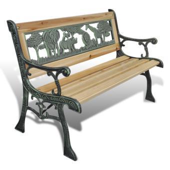 vidaxl banc de jardin pour enfant en fonte design animaux 80 x 24 cm