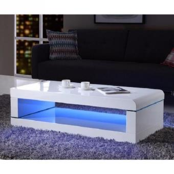 luz table basse 120cm laque blanc brillant avec led multicolore