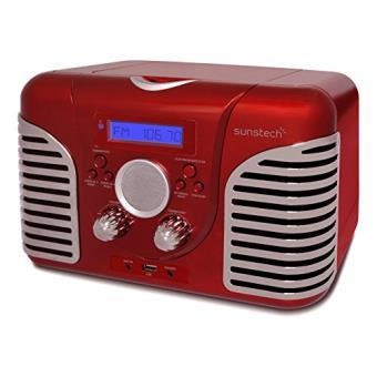 sunstech rprd2600rd radio de table avec design retro fm pll haut parleur usb cd et aux in 7 w rms rouge enceinte pc achat prix fnac