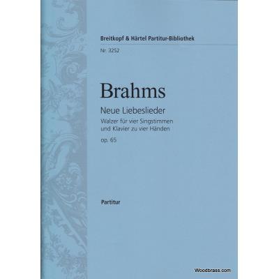 Partitions classique EDITION BREITKOPF BRAHMS J. - NEUE LIEBESLIEDER OP. 65 4 VOIX - CHANT, CHOEUR, PIANO Choeur et ensemble vocal
