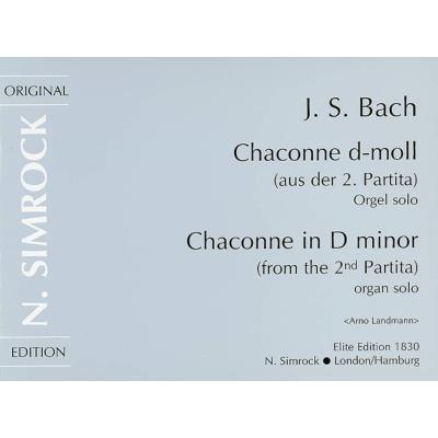 Partitions classique SIMROCK BACH J.S. - CHACONNE IN D MINOR - ORGAN Orgue