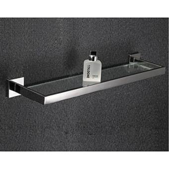 etagere en verre et inox pour gadgets de salle de bain de style contemporain 60 cm